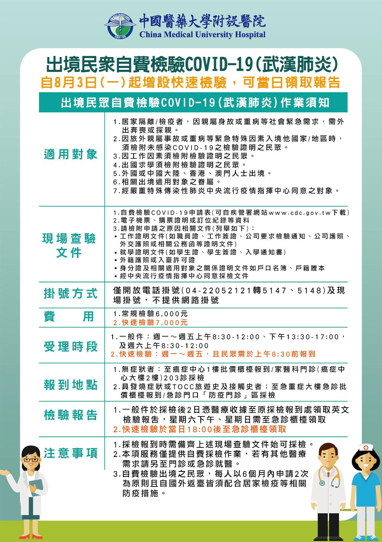 出境民眾自費檢驗COVID-19作業須知