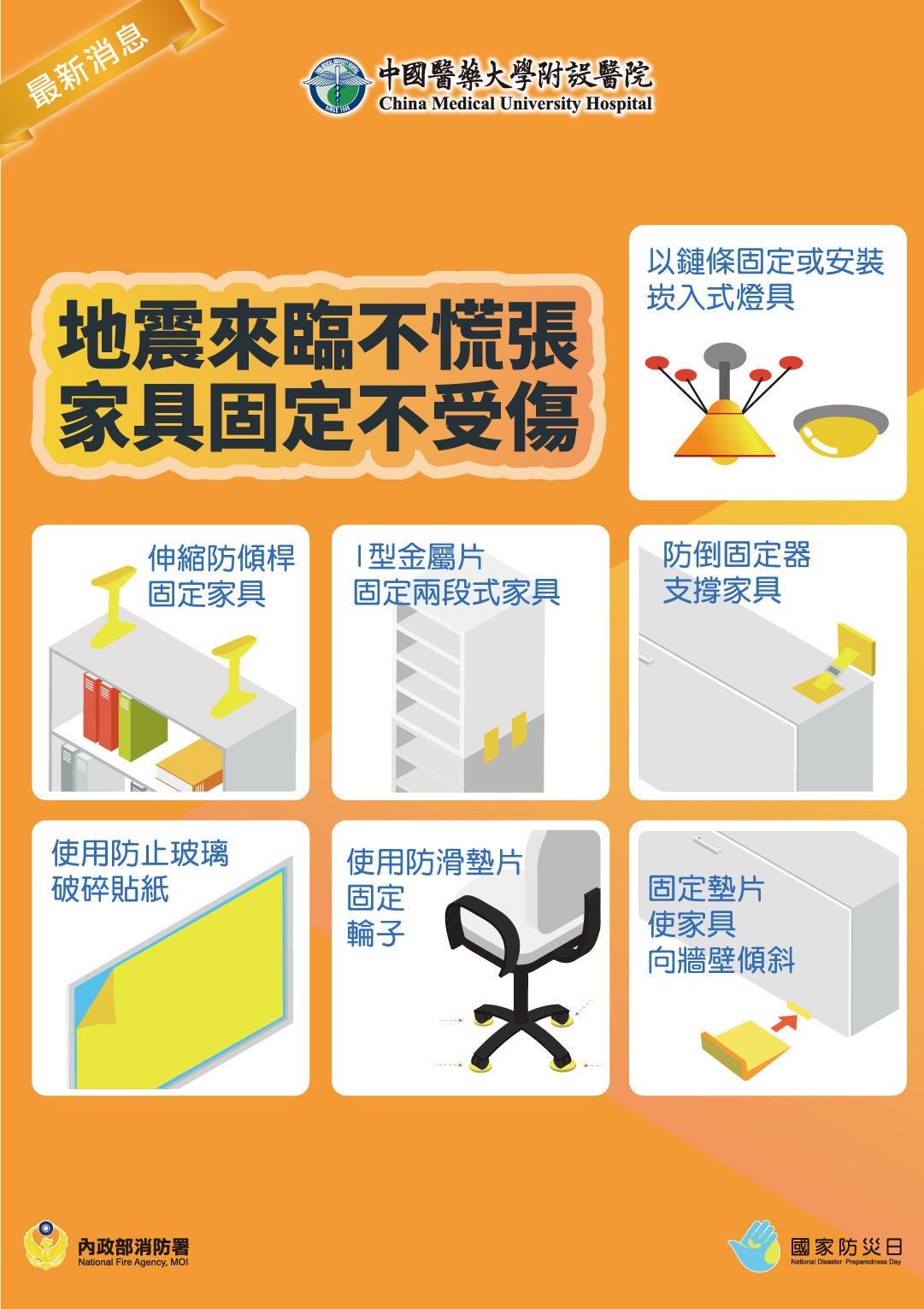 地震來臨不慌張 家具固定不受傷