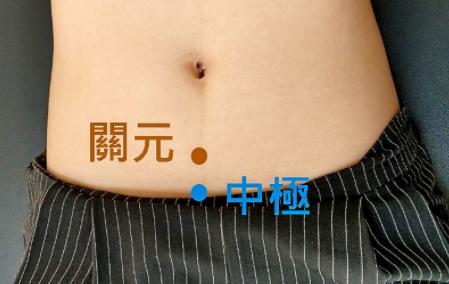 關元穴在臍下3寸,中極穴在臍下4寸。