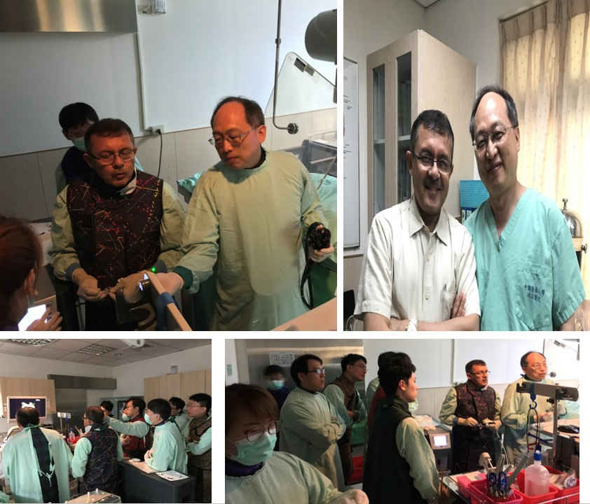 2018邀請國際知名ERCP專家印度醫師Dr.Maydeo來本院交流,進行膽道鏡(spyglass)