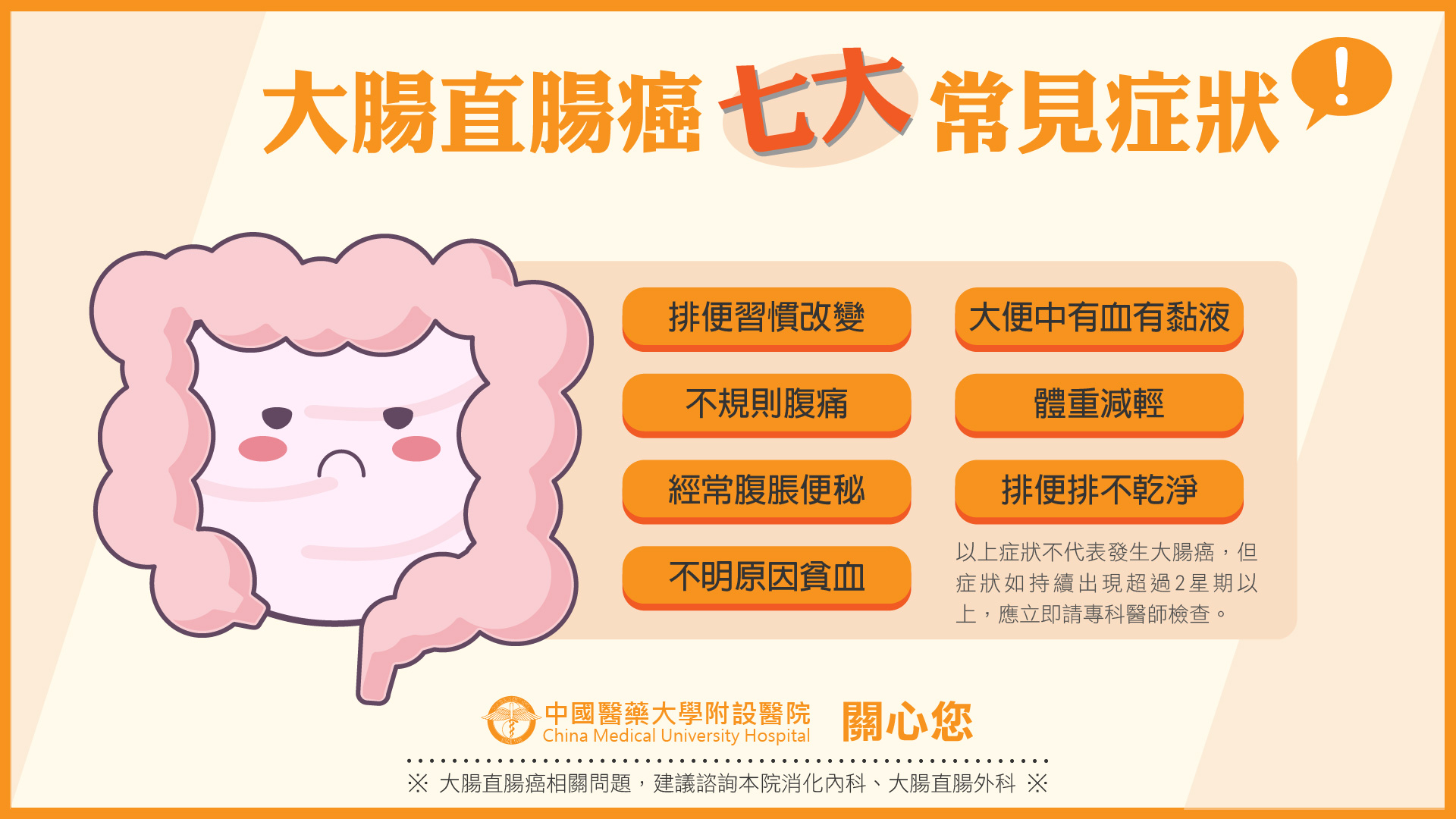 大腸直腸癌七大常見症狀