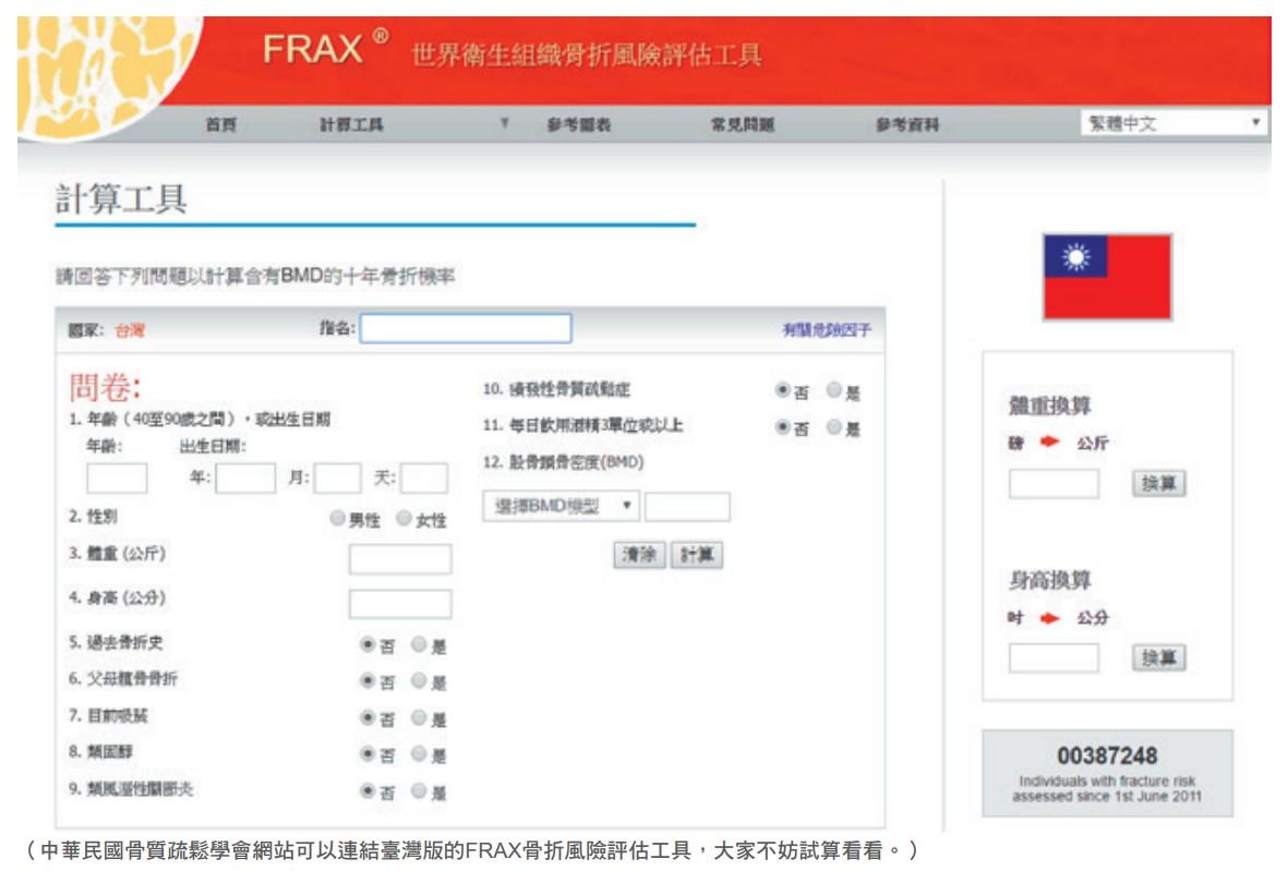 中華民國骨質疏鬆學會網站可以連結臺灣版的FRAX骨折風險評估工具